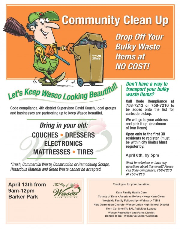 Wasco Community Clean- up Event (English)